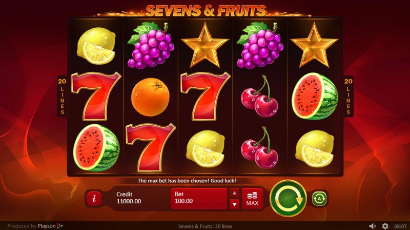 Sevens & Fruits 20 Lines :: Main Game Board