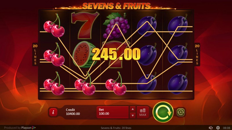 Sevens & Fruits 20 Lines :: Three of a kind
