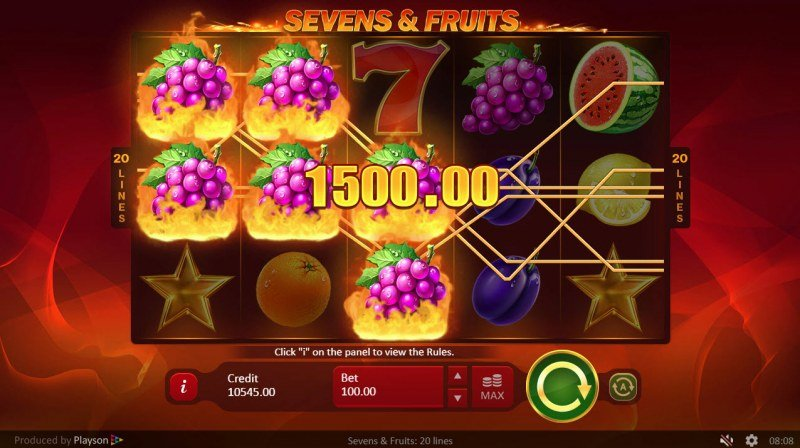 Sevens & Fruits 20 Lines :: Multiple winning paylines