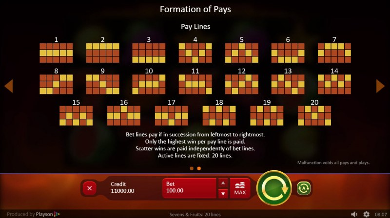 Play slots at Magik Slots: Magik Slots featuring the Video Slots Sevens & Fruits 20 Lines with a maximum payout of $25,000