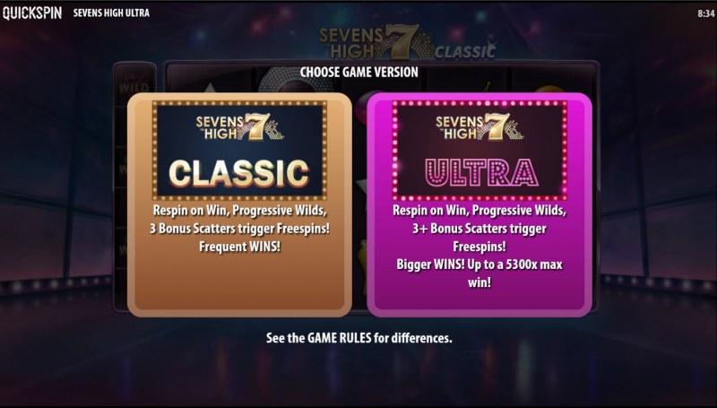 Sevens High Ultra :: Classic or Ultra Mode