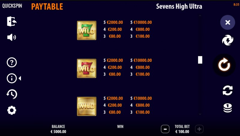 Sevens High Ultra :: Paytable - High Value Symbols