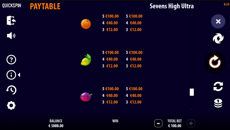 Sevens High Ultra :: Paytable - Low Value Symbols