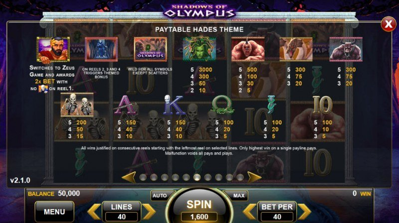 Shadows of Olympus :: Hades Theme Paytable