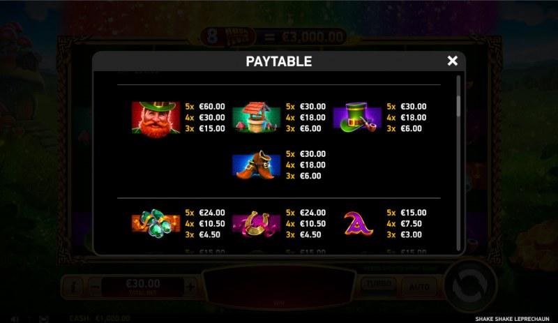 Shake Shake Leprechaun :: Paytable - High Value Symbols