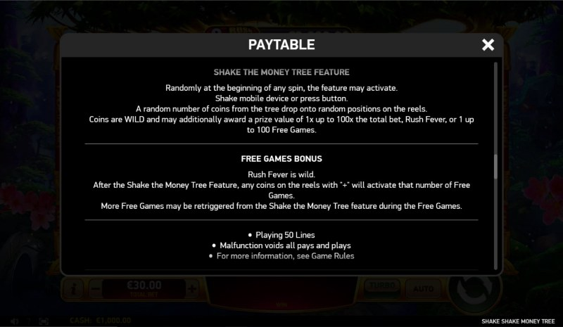 Shake Shake Money Tree :: General Game Rules