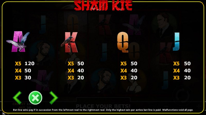 Sham Kie :: Paytable - Low Value Symbols