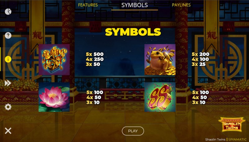 Shaolin Twins :: Paytable - High Value Symbols