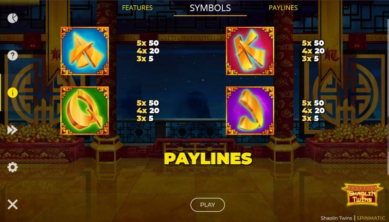 Shaolin Twins :: Paytable - Low Value Symbols