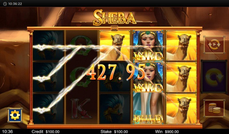 Sheba :: Stacked wild triggers multiple winning lines