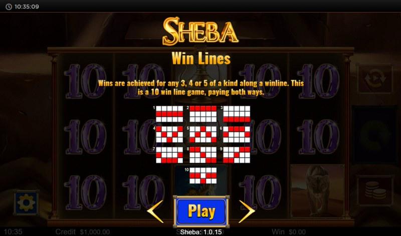 Sheba :: Paylines 1-10
