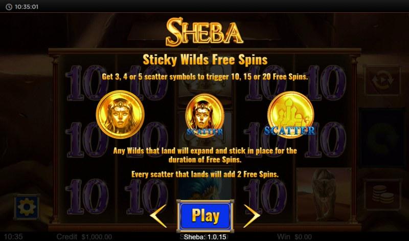 Sheba :: Sticky Wilds Free Spins
