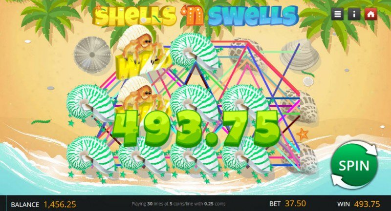 Shells 'n Swells :: Multiple winning combinations leads to a big win