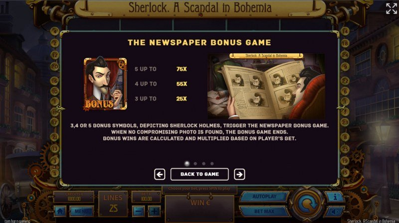 Sherlock A Scandal in Bohemia :: Newspaper Bonus Game