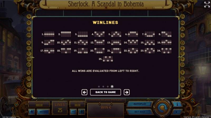 Sherlock A Scandal in Bohemia :: Paylines 1-25