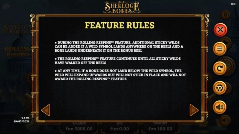 Sherlock Bones :: Feature Rules