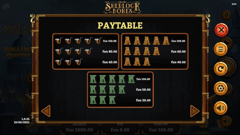 Sherlock Bones :: Paytable - Low Value Symbols