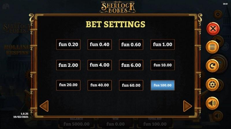 Sherlock Bones :: Bet Settings