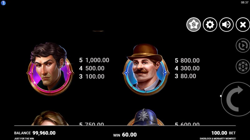 Sherlock & Moriarty Wow Pot :: Paytable - High Value Symbols