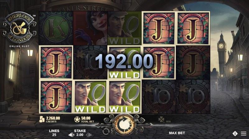 Sherlock of London :: Wild feature triggers multiple winning paylines