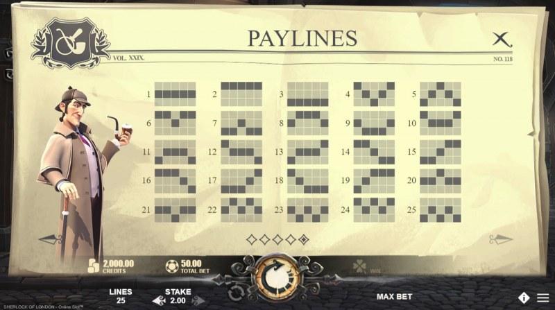 Sherlock of London :: Paylines 1-25