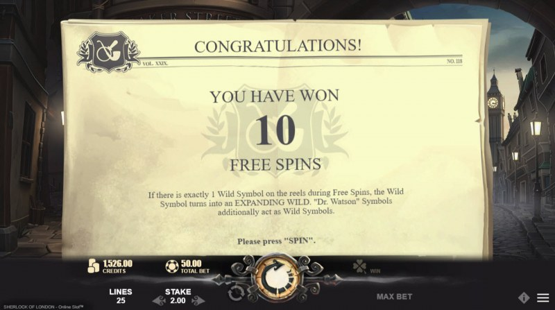 Sherlock of London :: 10 Free Spins Awarded