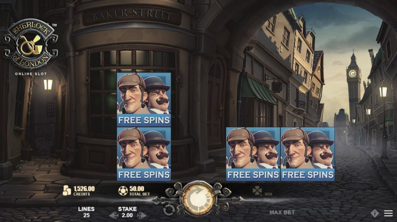 Sherlock of London :: Scatter symbols triggers the free spins feature