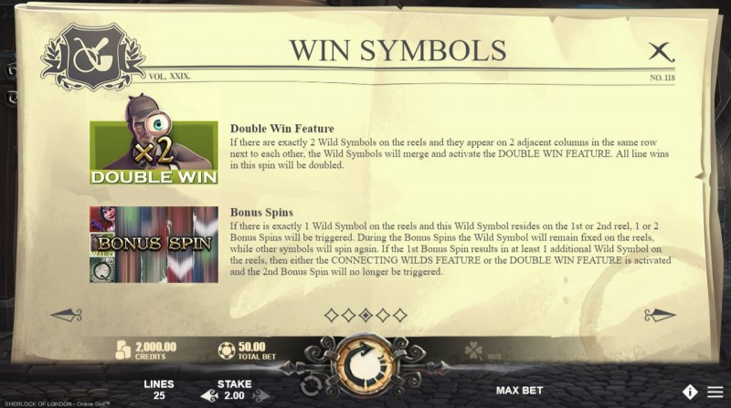 Sherlock of London :: Wild Symbols Rules