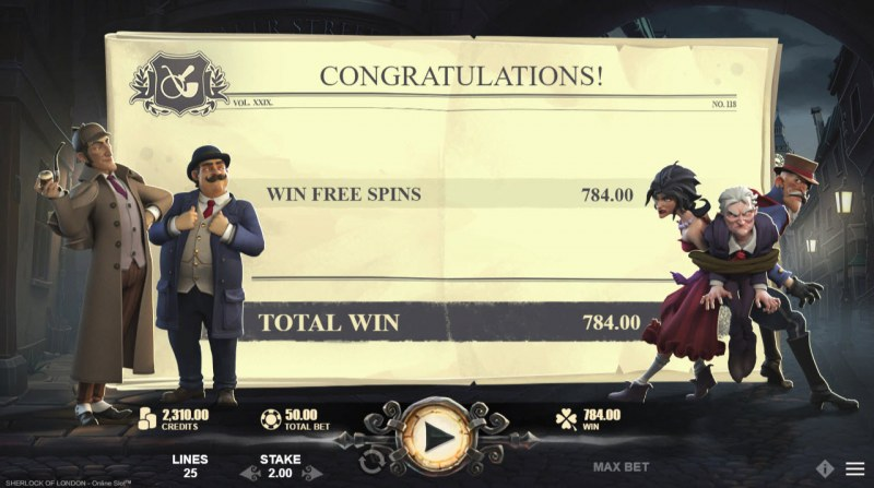 Sherlock of London :: Total free spins payout