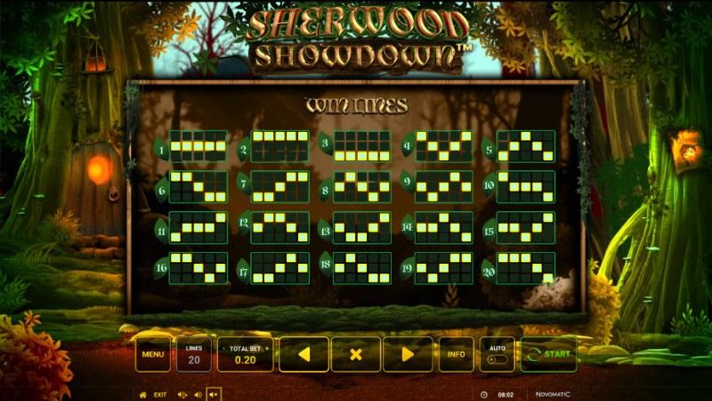 Sherwood Showdown :: Paylines 1-20