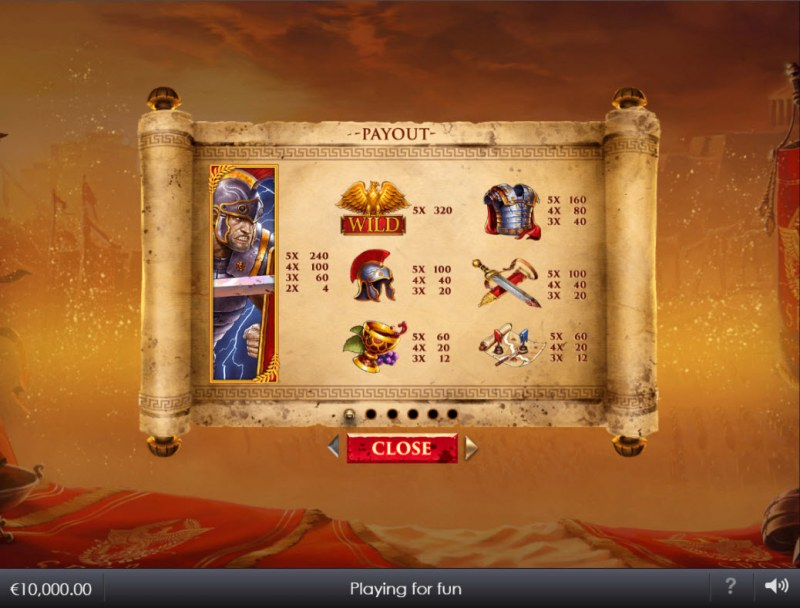 Shields of Rome :: Paytable - High Value Symbols