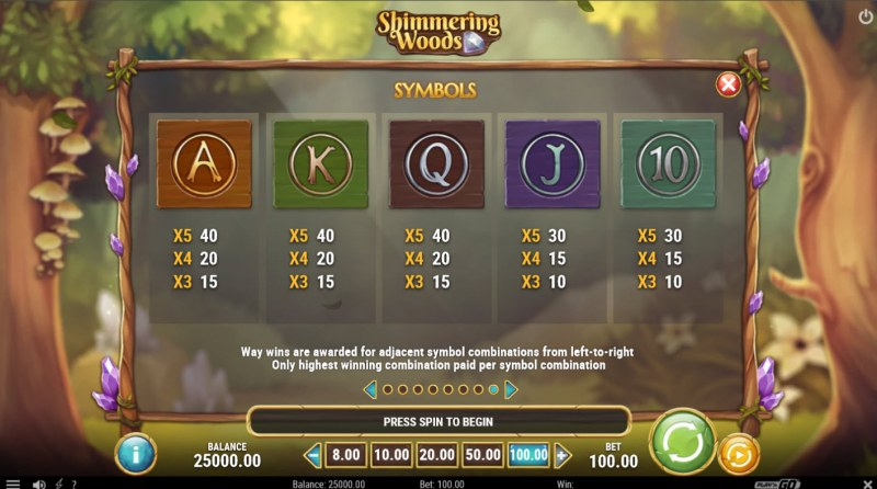 Shimmering Woods :: Paytable - Low Value Symbols