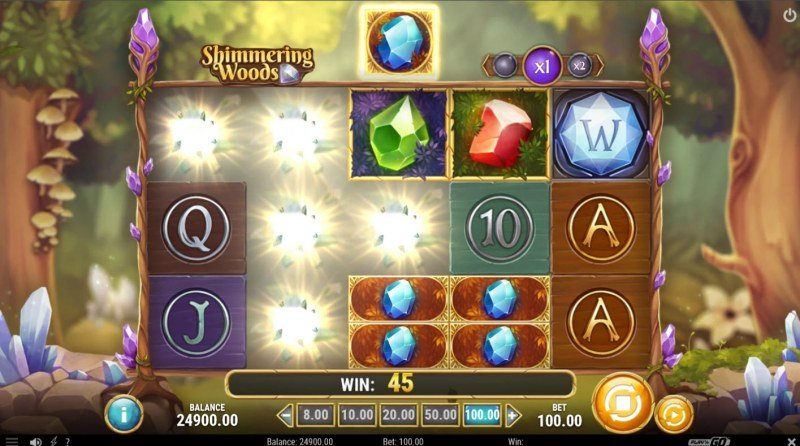Shimmering Woods :: Winning symbols are removed from the reels and new symbols drop in place