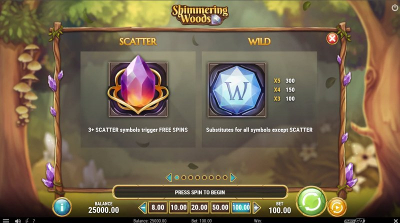 Shimmering Woods :: Wild and Scatter Rules