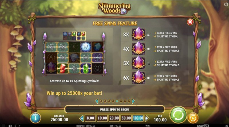 Shimmering Woods :: Free Spin Feature Rules