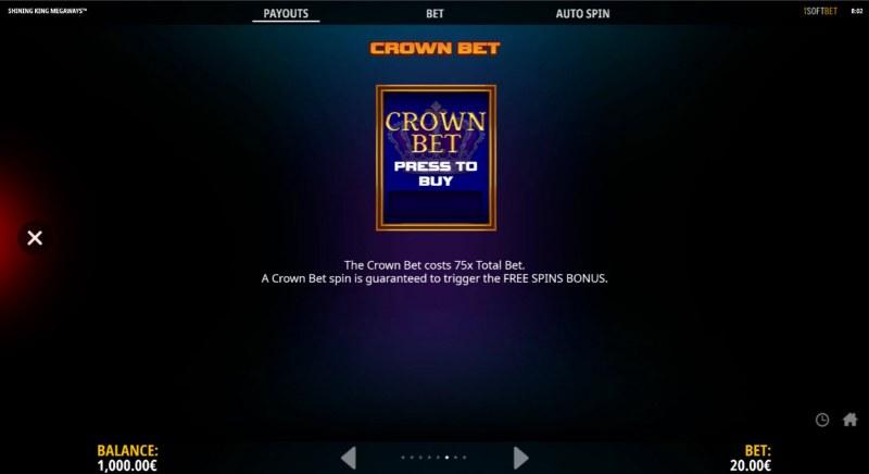 Shining King Megaways :: Bonus Bet Feature