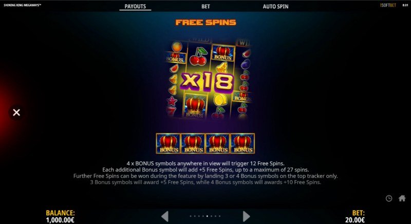 Shining King Megaways :: Free Spin Feature Rules