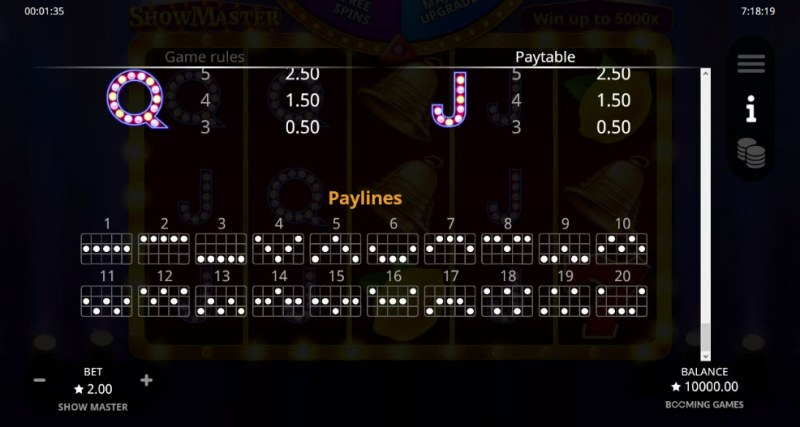 Show Master :: Paylines 1-20