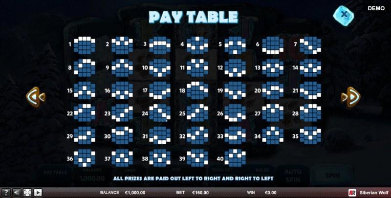 Siberian Wolf :: Paylines 1-40