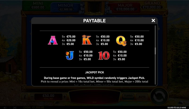 Silver & Gold Mine :: Paytable - Low Value Symbols