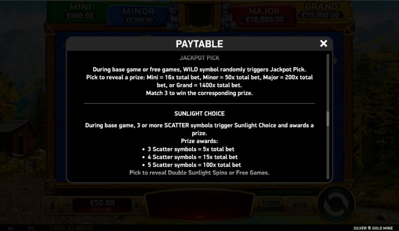 Silver & Gold Mine :: Feature Rules