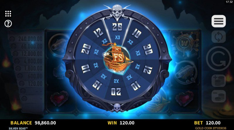 Silver Seas :: Spin the wheel to determine the free spins and multiplier