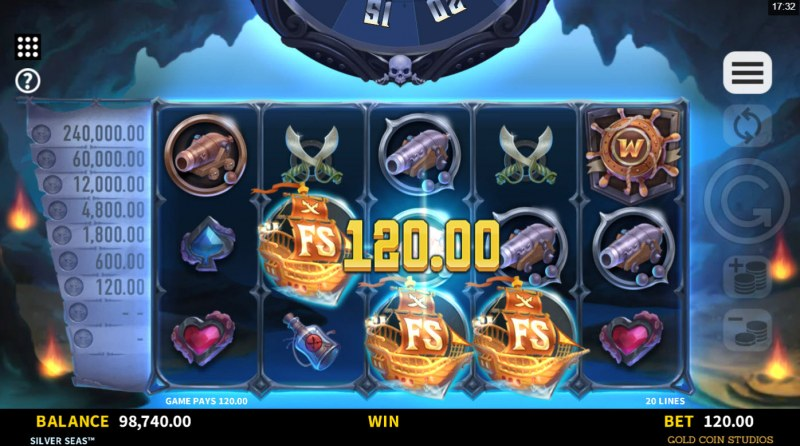 Silver Seas :: Scatter symbols triggers the free spins bonus feature