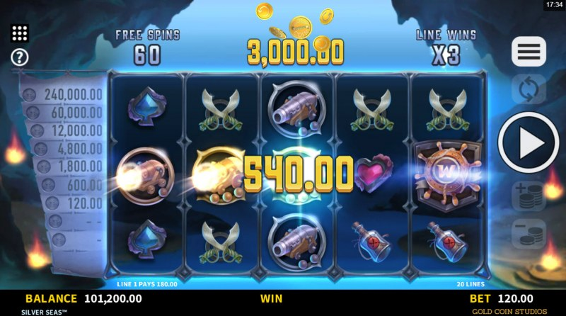 Silver Seas :: A three of a kind win