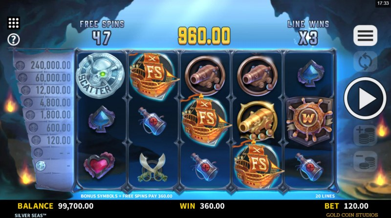 Silver Seas :: Additional free spins triggered
