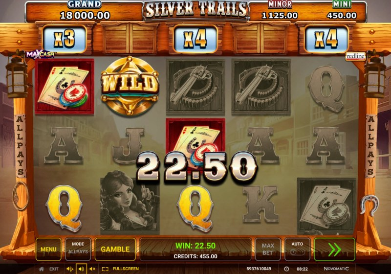 Silver Trails :: A three of a kind win
