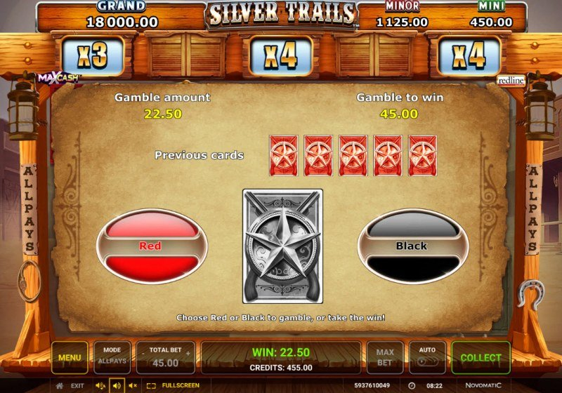 Silver Trails :: Red or Black Gamble Feature