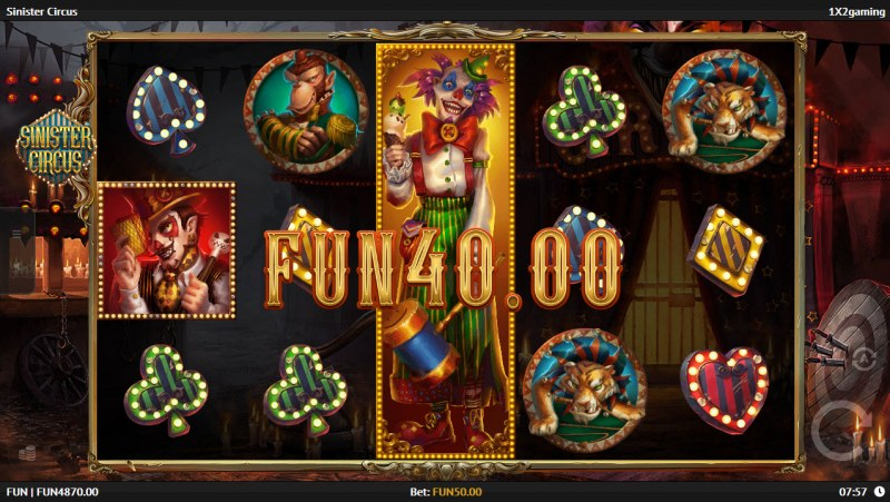 Play slots at Enzo Casino: Enzo Casino featuring the Video Slots Sinister Circus with a maximum payout of $150,000