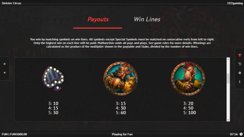 Sinister Circus :: Paytable - Medium Value Symbols