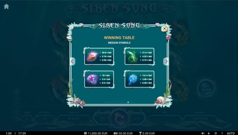 Siren Song :: Paytable - Medium Value Symbols